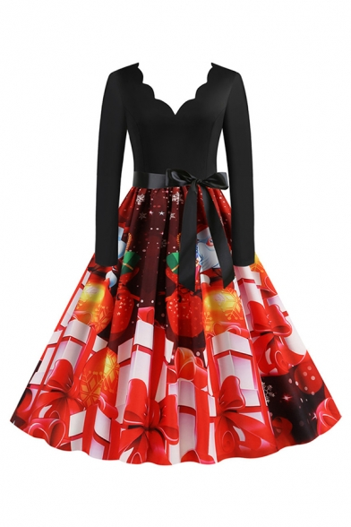 Pretty Ladies' Red Long Sleeve Scallop Neck Bow Tie Waist Gift Santa Snowman Printed Maxi Pleated Swing Dress
