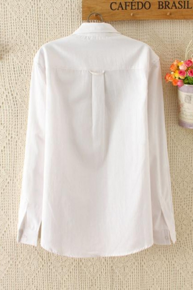 Simple Ladies White Long Sleeve Lapel Collar Button Down Cat Embroidery Pocket Panel Relaxed Fit Shirt