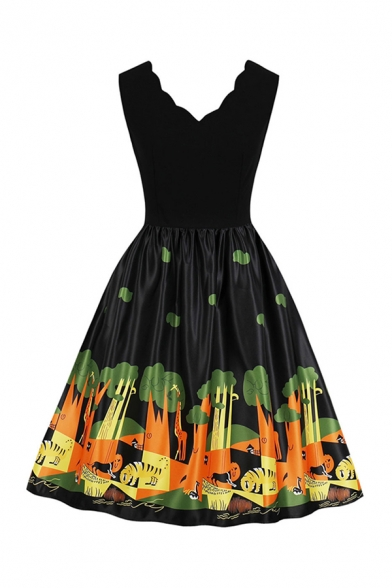 Trendy Girls' Sleeveless V-Neck Scallop Trim Cartoon Animal Printed Long Pleated Swing Dress in Black