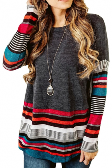 Trendy Women's Long Sleeve Round Neck Stripe Printed Colorblock Loose Fit Tee