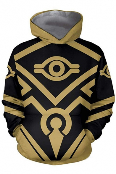 Casual Mens Long Sleeve Geo 3D Print Relaxed Fit Cosplay Costume Hoodie in Yellow