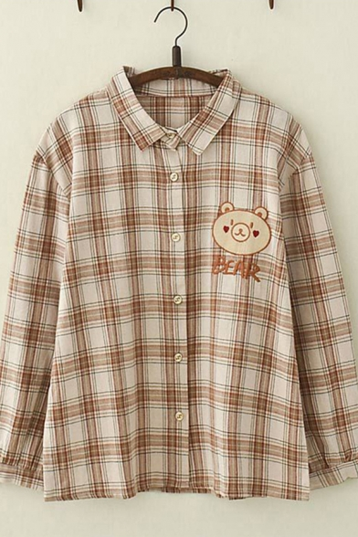 Casual Womens Long Sleeve Lapel Collar Button Down Bear Embroidered Checkered Relaxed Fit Shirt