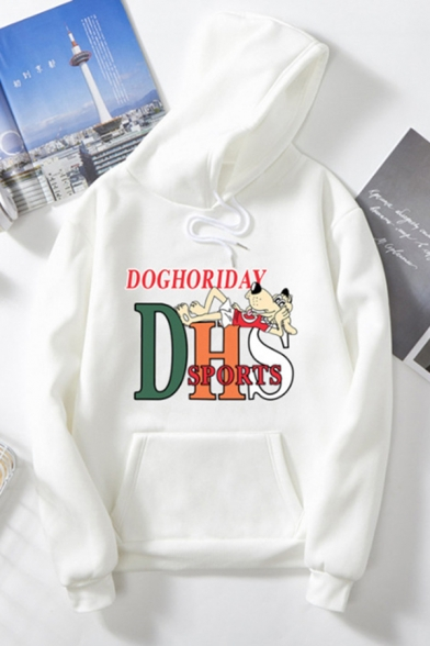 Cool Fashion Ladies Long Sleeve Drawstring Letter DHS Dog Printed Pouch Pocket Loose Hoodie