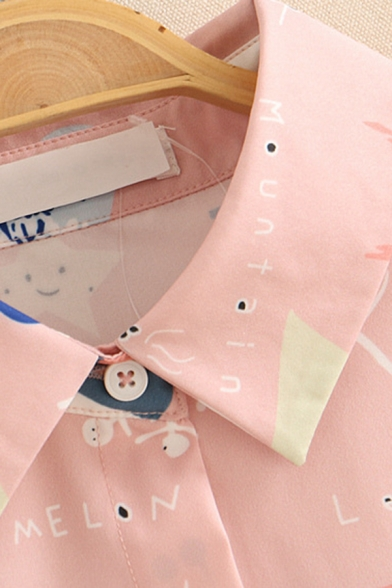 Cute Fancy Long Sleeve Lapel Neck Button Down All Over Cartoon Printed Drawstring Hem Relaxed Shirt in Pink