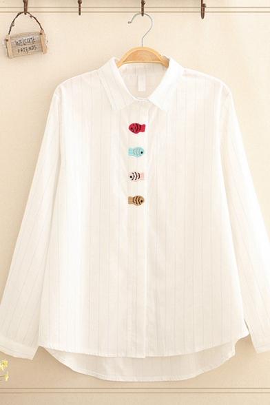 Fashion Women's Long Sleeve Lapel Neck Button Down Stripe Print Fish Embroidery Loose Fit Shirt