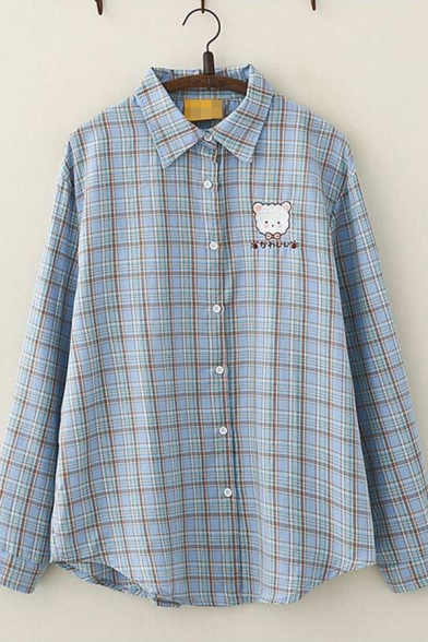 Fashionable Womens Long Sleeve Lapel Collar Button Down Plaid Printed Japanese Letter Bear Embroidery Curved Hem Loose Shirt