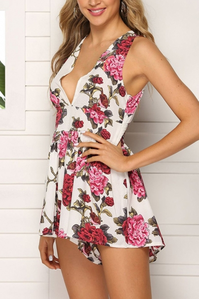 Gorgeous Hot Women's Sleeveless Deep V-Neck All Over Floral Printed Tied Back Pleated Relaxed Jumpsuit Shorts