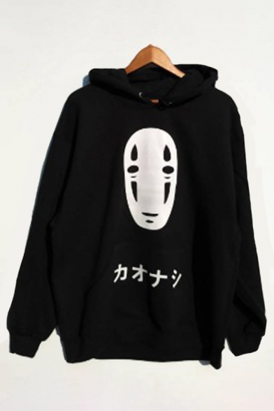 Hip Hop Girls Long Sleeve Japanese Letter Graphic Loose Fitted Hoodie in Black