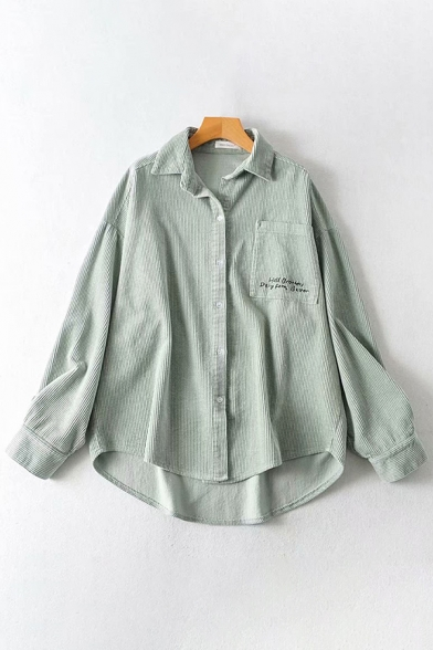 Leisure Thick Long Sleeve Lapel Collar Button Down Letter Embroidery Corduroy Relaxed Fit Shirt