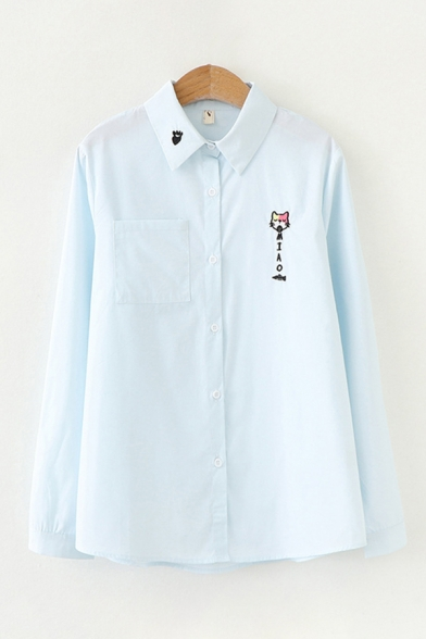 Popular Long Sleeve Lapel Collar MIAO Letter Cat Fishbone Embroidery Button Down Relaxed Shirt for Girls