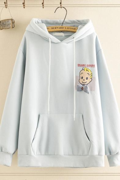 Preppy Girls Long Sleeve Drawstring Letter OSAMU GOODS Cartoon Girl Graphic Kangaroo Pocket Loose Fit Hoodie, Pink;white;yellow;sky blue, LM596750