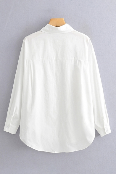 Simple White Long Sleeve Lapel Neck Button Down Curved Hem Relaxed Fit Shirt for Women