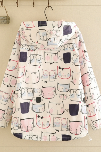 White Leisure Long Sleeve Zipper Front All Over Cat Printed Loose Fit Jacket for Women
