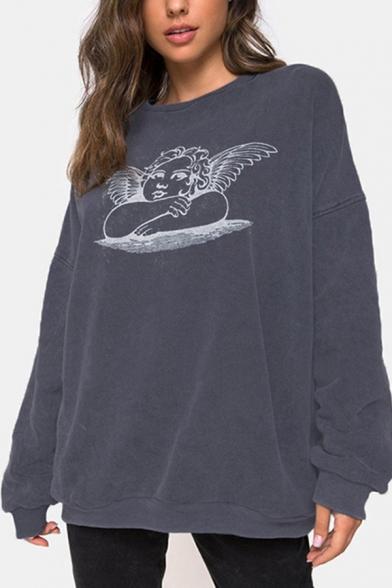 Womens Lovely Cherub Printed Long Sleeve Dark Gray Loose Pullover Sweatshirt