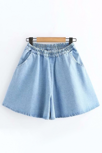 Cute Stylish Girls Elastic Waist Solid Color Wide-Leg Denim Shorts