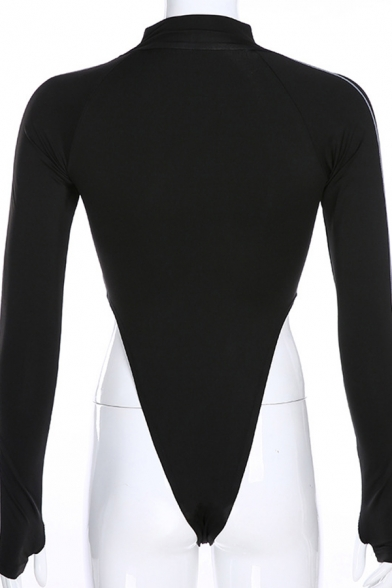 Edgy Girls Long Sleeve Mock Neck Letter ROCK MORE Contrast Piped Reflective High Cut Bodysuit