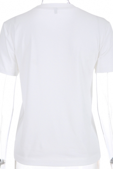Fashion Girls Short Sleeve Crew Neck Angle Print Letter YOU CNA'T SIT WITH US Relaxed Tee Top in White