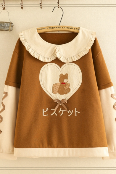 Fashionable Women's Long Sleeve Peter Pan Collar Japanese Letter Bear Graphic Lace Up Contrasted Relaxed Sweatshirt