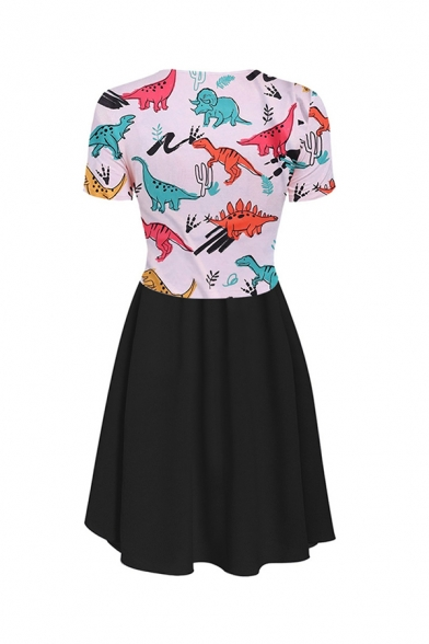 Fashionable Women's Short Sleeve V-Neck Animal Printed Twist Front Ruffle Trim Long Pleated A-Line Two Piece Sets Dress