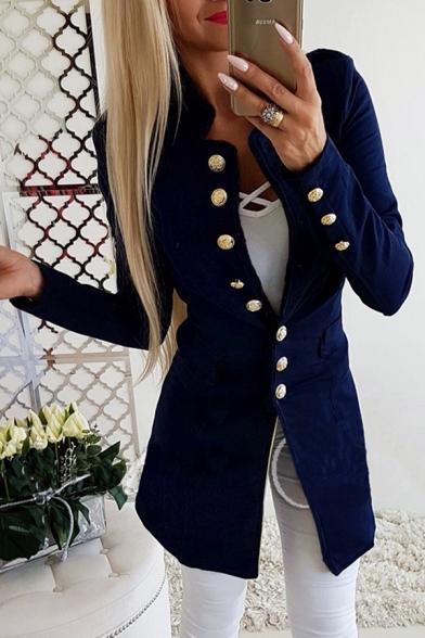 Formal Women's Plain Long Sleeve Stand Collar Button Down Plain Slim Fit Blazer