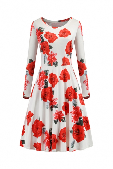 Gorgeous Ladies' Long Sleeve Round Neck All Over Floral Printed Long Pleated Flared Dress