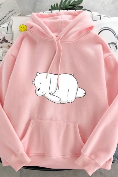 Ladies Trendy Long Sleeve Drawstring Bear Printed Kangaroo Pocket Hoodie