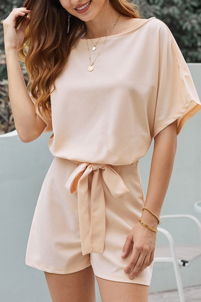 Leisure Fashion Women's Short Sleeve Round Neck Cut Out Back Bow Tie Waist Relaxed Plain Rompers