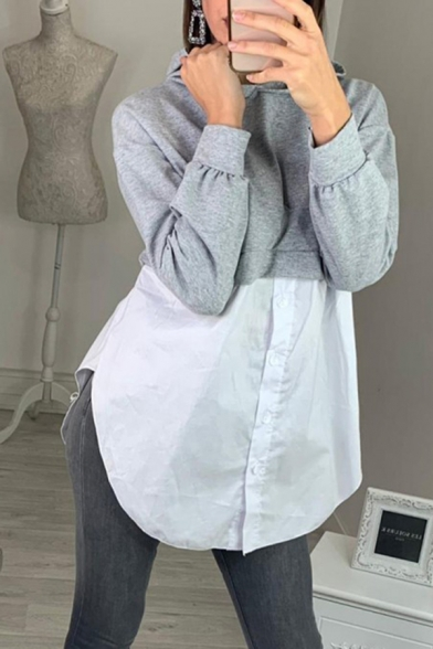 Popular Girls Long Sleeve Button Front Curved Hem Relaxed Long Hoodie