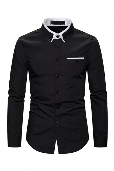 Popular Guys Long Sleeve Lapel Collar Button Down Contrast Piped Relaxed Fit Shirt