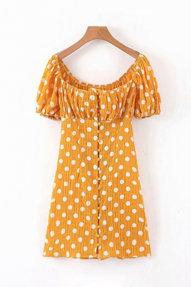 Pretty Girls Short Sleeve Square Neck Polka Dot Printed Button Down Ruched Long A-Line Yellow Dress