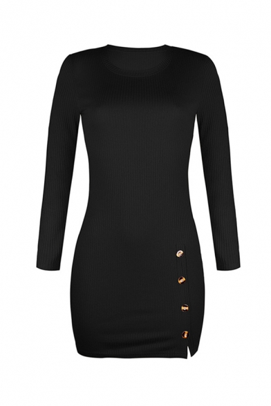 Simple Plain Long Sleeve Crew Neck Button Front Knitted Mini Bodycon Dress for Female