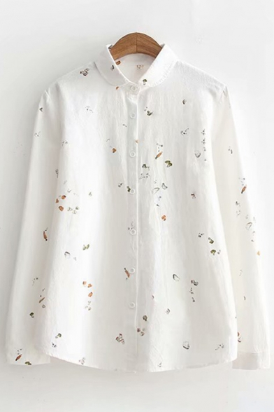 Simple Womens Long Sleeve Lapel Collar Button Down Cartoon All Over Printed Relaxed Shirt LC605070 фото