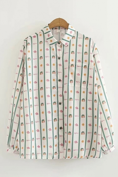 Stylish Womens Long Sleeve Lapel Collar Button Down Allover Cartoon Floral Printed Relaxed Fit Shirt in White