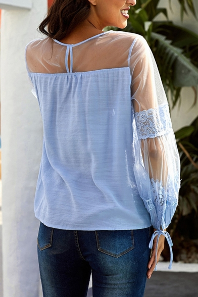 Trendy Solid Color Long Sleeve Round Neck See-Through Mesh Patchwork Relaxed Fit Shirt