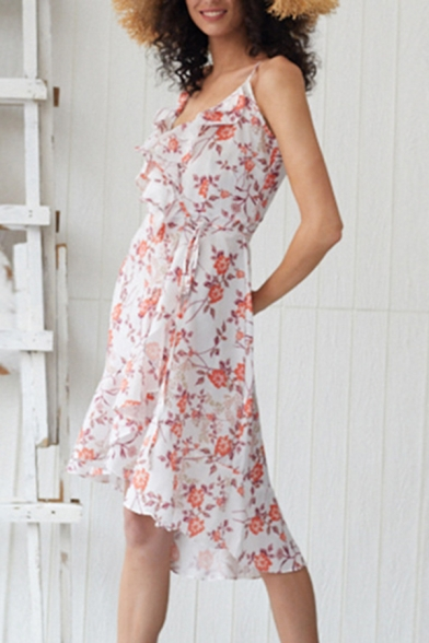Fancy Ladies' Sleeveless Surplice Neck Tied Waist All-Over Floral Print Ruffled Long Wrap Flowy Cami Dress in White