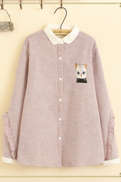 Fantastic Girls Long Sleeve Lapel Collar Button Down Cat Embroidery Ruffled Trim Stripe Printed Contrasted Oversize Shirt