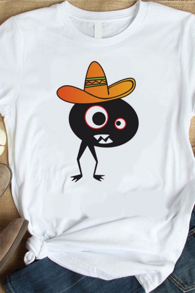 Funny Summer Short Sleeve Crew Neck Cartoon Pattern Loose Graphic T-Shirt in White LC600983 фото