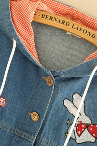 Leisure Classic Women's Long Sleeve Button Down Drawstring Letter BABY RABBIT Rabbit Embroidered Loose Fit Denim Jacket in Blue