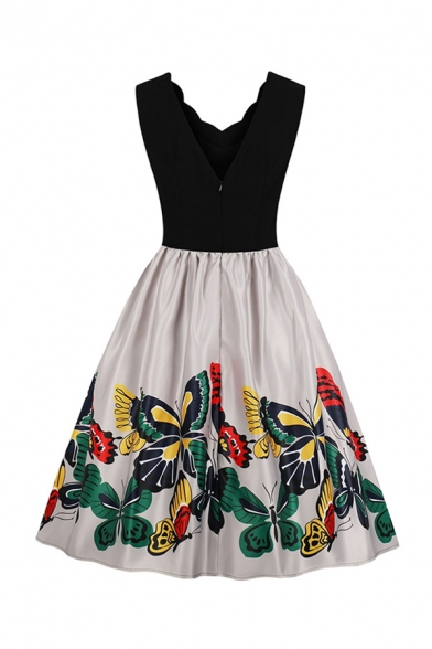 Retro Amazing Girls Sleeveless V-Neck Scallop Trim Butterfly Pattern Patchwork Long Pleated Swing Dress in Black