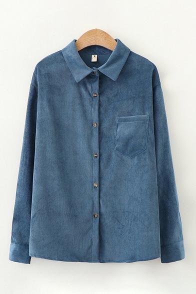 Simple Classic Womens Plain Long Sleeve Lapel Collar Button Down Pocket Panel Velvet Loose Shirt