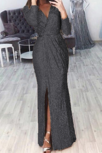 Amazing Women's Long Sleeve Surplice Neck Bling Bling Slit Maxi Plain Column Gown Dress