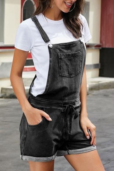 Casual Cool Street Girls' Drawstring Waist Patched Pocket Rolled Cuffs Suspender Denim Shorts