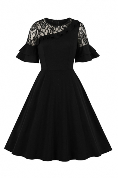 Cool Formal Women's Ruffled Sleeves Crew Neck See-Through Lace Panel Maxi Pleated Swing Evening Dress in Black
