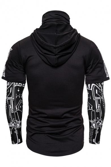 Cool Mens Long Sleeve Drawstring Ninja Cosplay Geometric Printed Patchwork Fake Two Piece Slim Fit Hoodie