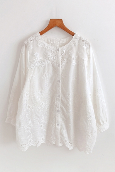 Fancy Cute Girls Long Sleeve Crew Neck Button Down Lace Solid Color Relaxed Shirt
