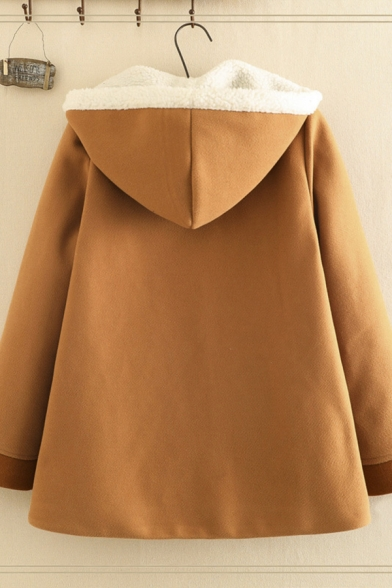 Lovely Fashion Girls' Brown Long Sleeve Hooded Button Down Cartoon Rabbit Pattern Pom Pom Hollow Out Fleece Liner Loose Fit Wool Coat