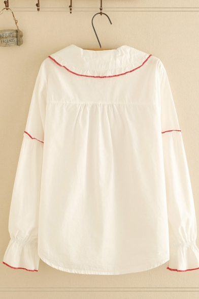 Pretty Girls' Long Sleeve Peter Pan Collar Bow Tie Stringy Selvedge Contrasted Button Down Relaxed Shirt in White