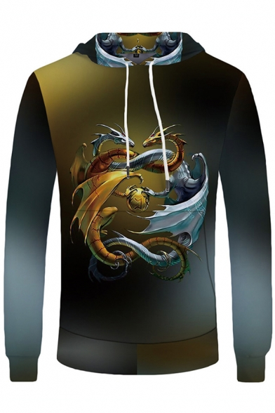 Black Popular Long Sleeve Drawstring Dragon 3D Pattern Relaxed Hoodie for Mens