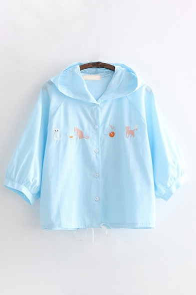 Cute Girls Long Sleeve Button Down Cat Embroidered Drawstring Hem Loose Jacket