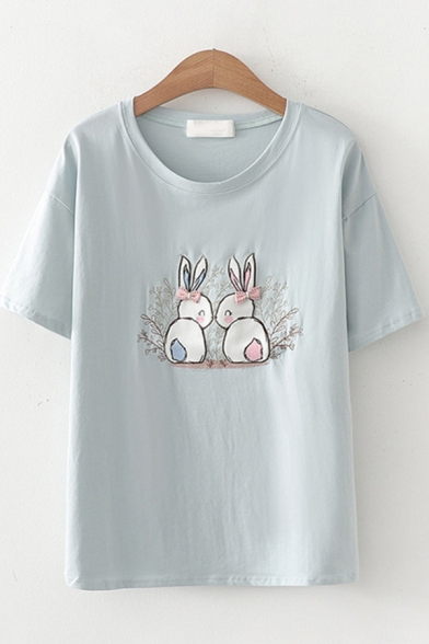 Fashion Girls Short Sleeve Round Neck Rabbit Printed Bow Tie Patched Regular Fit T-Shirt